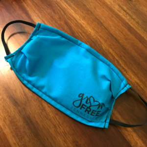 teal face mask with logo